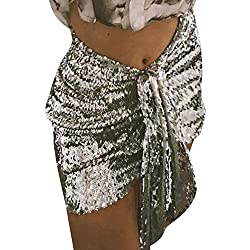SIlver Beach Wrap Sequins Tassel Mini Skirt Hip Scarf Belt