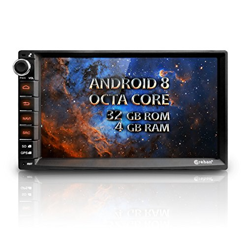 Android 8 Car Radio Stereo - Corehan 7 inch Octa Core 4GB Ram 32GB ROM Double Din in Dash Car Video Player Navigator with Microphone Bluetooth WiFi GPS Navigation System