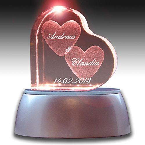 3Dglas Stimmungslicht LED Valentinstags Special | Herzform mit deiner Wunschgravur | GRATIS...