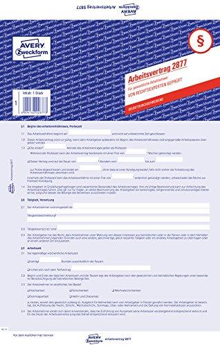 Avery Zweckform 2877 Arbeitsvertrag, DIN A4, für gewerbl. Arbeitnehmer, blau