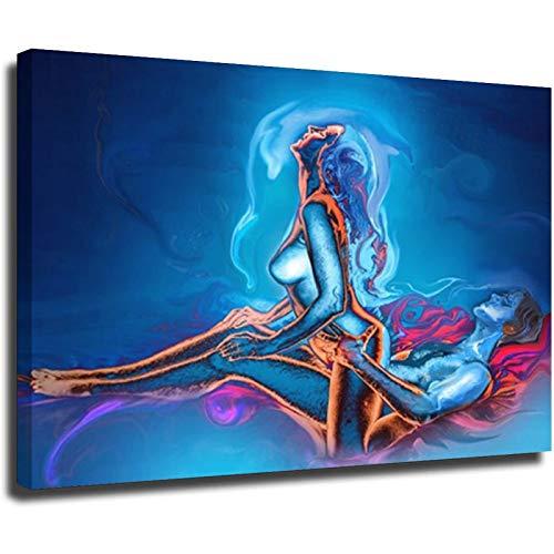 Pintura de lona sexy hombres y mujeres abstractas hacer amor carteles e impresiones dormitorio pared decoración pintura al óleo cuadros marco-estilo1 8 × 12 pulgadas (20 × 30 cm)