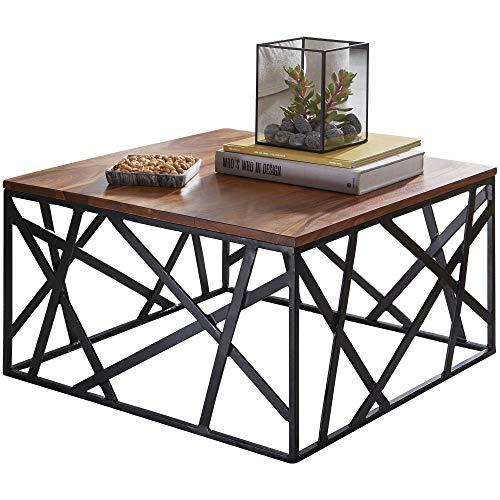 FineBuy Couchtisch BAKAL 60x35x60 cm Sheesham Massivholz/Metall Sofatisch   Design Wohnzimmertisch Industrial Style   Stubentisch braun/schwarz   Designer Kaffeetisch massiv   Tisch quadratisch