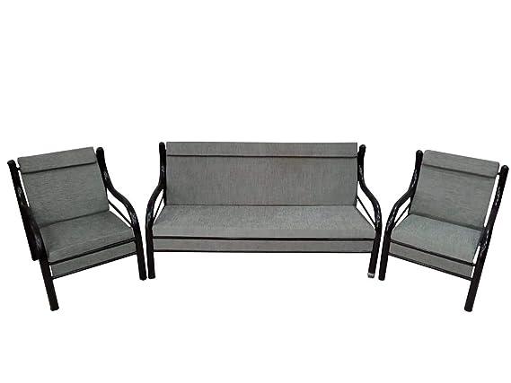 IRA FURNITURE Steel Base Cotton 3+1+1 Seats Sofas  Grey Color  Sofa Sets