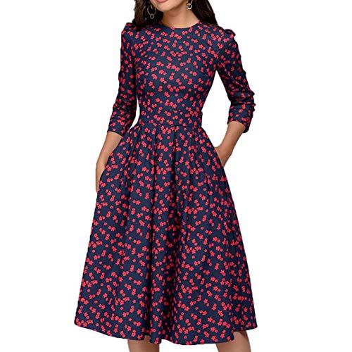 Olisenci Y2K Damen Floral 3/4-Ärmel Midi-Kleid, Vintage Einfache Elegante Schlanke Abendkleid Cocktailkleid (Rot, XL)