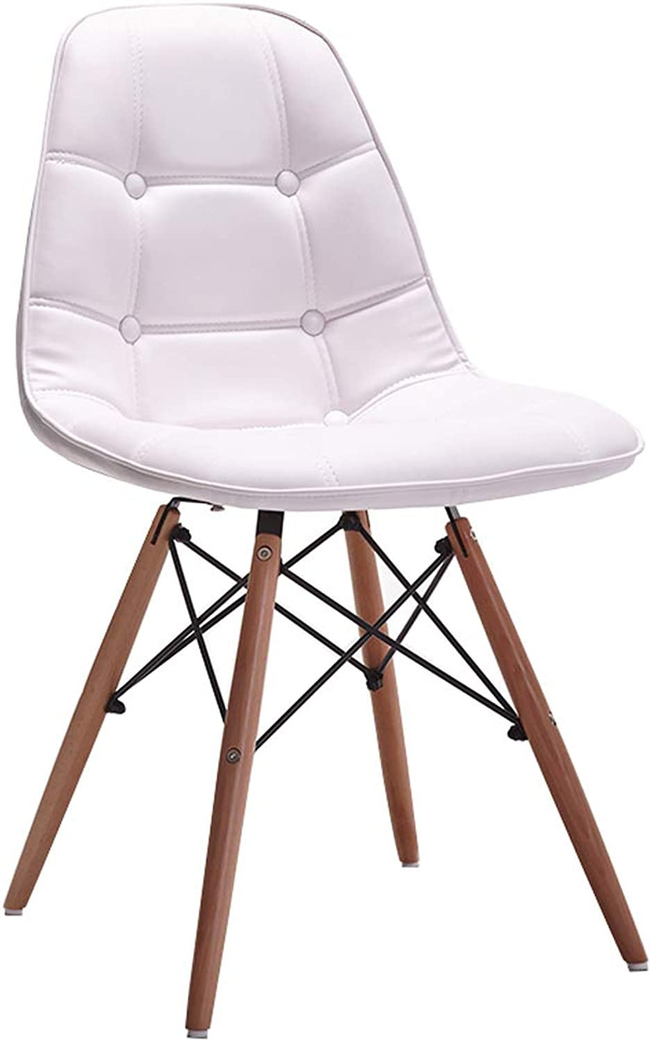 CXQ Nordic Fashion Modern Style Casual Simple Solid Wood Dining Chair Back Chair Leather Stool (color   White)