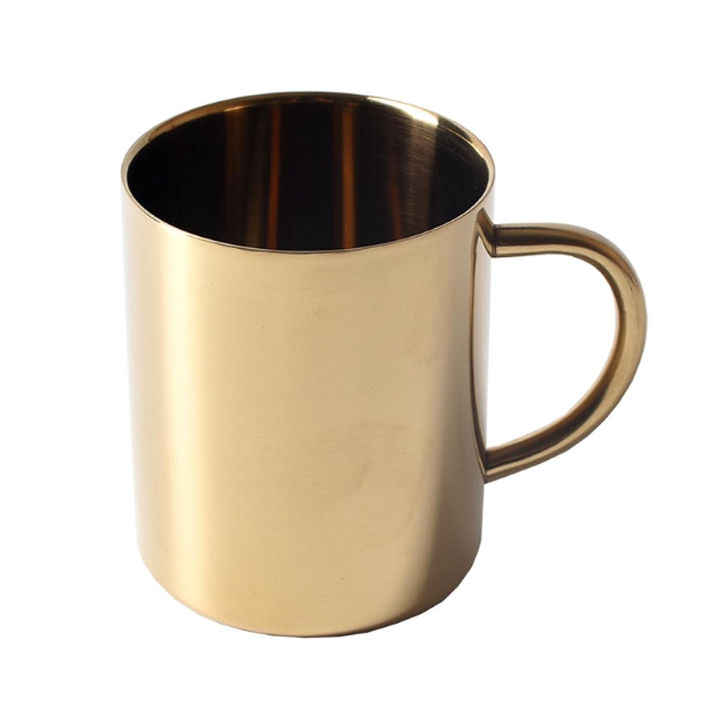 することになっているストレス基本的なHomyl コーヒー ティー マグカップ ステンレス アウトドア ホーム 二重壁 400ml 2色 - ゴールド