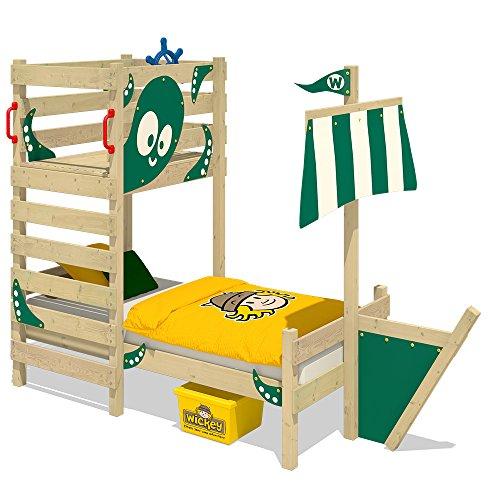 WICKEY Abenteuer-Bett CrAzY Bounty Kinderbett 90x200 Spielbett für Kinder mit Lattenboden, Spielpodest und Schiffanbau, grün