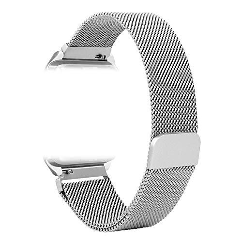 BETTER-NEE Compatible Watch Band,Milans Loop Stainless Steel Magnetic Metal Replacement Strap,Magnet Lock for iwatch Series 1/2/3/4/5 for 42mm 44mm Shine Silver