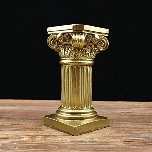 Aifeer - Figura decorativa de columna griega de resina para pedestal, diseño de mesa de arena, decoración para interiores y exteriores, decoración de jardín, 20 cm, polirresina, dorado