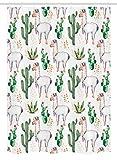 Ambesonne Cactus Stall Shower Curtain, Hot Southern Desert Plant Cactus Pattern of Alpaca Llama Animal Modern Colored Image Artwork Print, Fabric Bathroom Decor Set with Hooks, 54