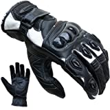 PROANTI Motorradhandschuhe Leder kurz Motorrad Handschuhe (Gr. S-XXL weiß)