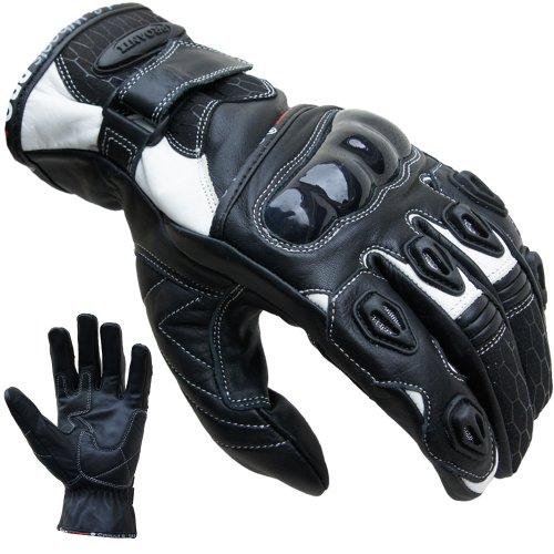 PROANTI Motorradhandschuhe Leder kurz Motorrad Handschuhe weiß - Größe L