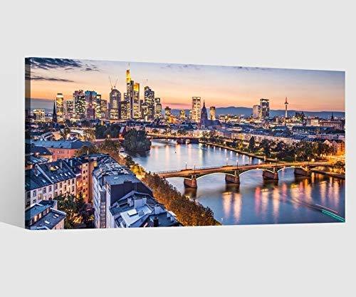 Leinwandbild Leinwand Skyline Frankfurt Brücke Landschaft Bild Bilder Wandbild Holz Leinwandbilder Kunstdruck vom Hersteller 9AB647, Leinwand Größe 1:80x40cm