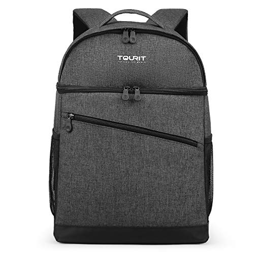 TOURIT 28 Cans Backpack Cooler Leak-Proof Insulated Soft Cooler Double Deck Lunch Cooler Backpack for Men Women to Beach, Boat, Hiking, Picnics or Day Trips (Dark Grey)