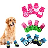 N\O Yemiany Calcetines para Gatos,3 Juegos de Calcetines de Punto para Mascotas con Calcetines de Silicona Antideslizantes para Perros y Gatos Calcetines para Gatos Protector de pie de Pata(L)