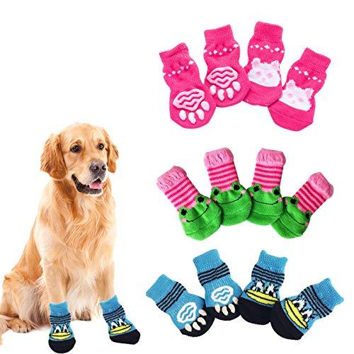 Protectores de Patas para Perros con Silicona Antideslizante 3 Juegos Calcetines para Mascotas M HvxMot Calcetines Para Perros 3 Estilos 12 Pcs Protector de Pata de Gato para Uso en Interiores