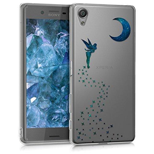 kwmobile Hülle kompatibel mit Sony Xperia X - Handyhülle - Handy Case Fee Dunkelblau Petrol Transparent