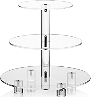 Weddingwish Acrylic Cupcake Stand, Clear Dessert Tower Holder Display with Base for Wedding, Party, Baby Shower, 3 Tier Round, Transparent