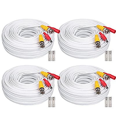 WildHD 4x200ft BNC Cable All-in-One Siamese Video and Power Security Camera Cable Extension Wire Cord with 2 Female Connetors for All Max 5MP HD CCTV DVR Surveillance System (200ft 4pack Cable, White)