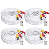 WildHD 4x200ft BNC Cable All-in-One Siamese Video and Power Security Camera Cable Extension Wire Cord with 2 Female Connectors for All Max 5MP HD CCTV DVR Surveillance System,200ft 4pack Cable, White