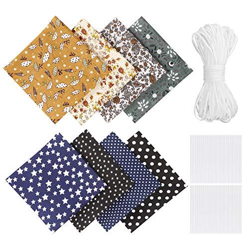 Tessuto Cotone al Metro, DIY Stoffe per Cucito Creativo 8 Pezzi 50 x 50 cm Stoffa Cotone Tessuto Stampato Per Letto, Tende, Tovaglie Materiali da Cucito
