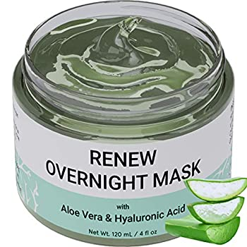 Renew Overnight Sleeping Facial Mask by Doppeltree with Aloe Vera & Hyaluronic Acid - Hydrating Face Mask for Night Time Skin Repair - Formulated in San Francisco