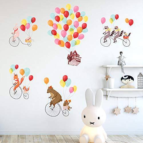 ufengke Wandtattoos Tiere Reisen Wandsticker Wandaufkleber Luftballons Haus Fahrrad für Kinderzimmer Wohnzimmer