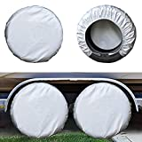 Kayme Four Layers Tire Covers Set of 4 for Rv Travel Trailer Camper Vinyl Wheel, Sun Rain Snow...