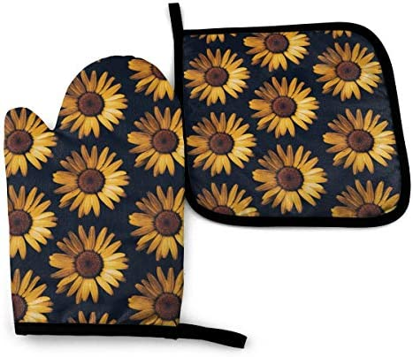 VunKo Vintage Daisy Oven Mitts and Pot Holders Sets Heat Resistant Flowers Oven Gloves with product image