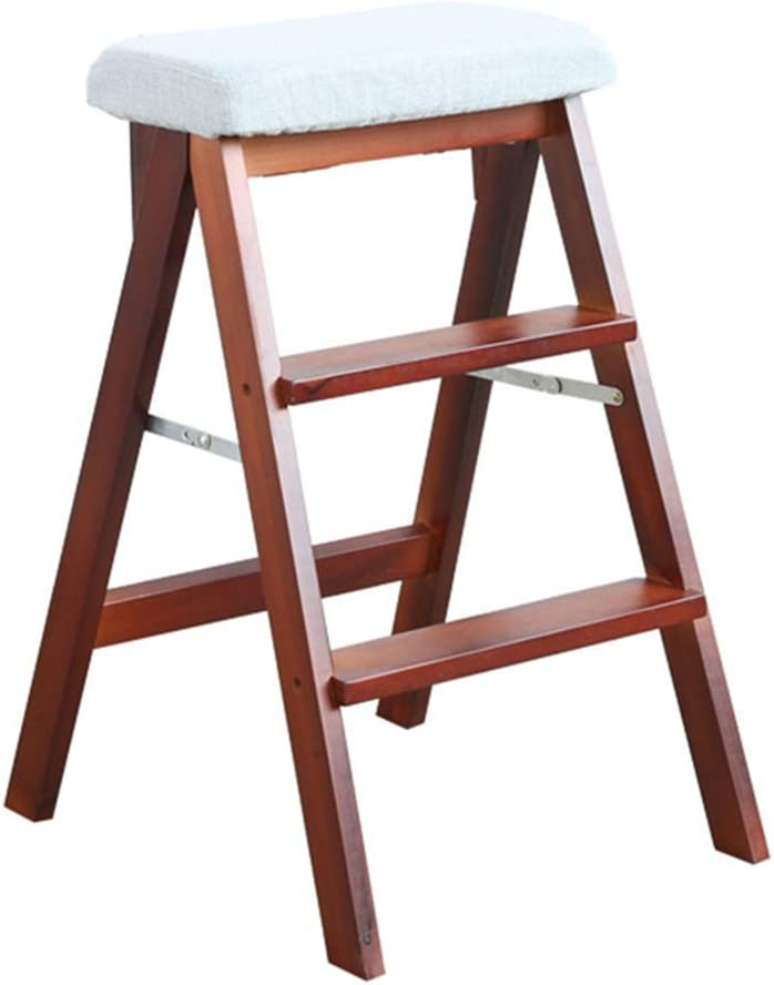 HLL Step Stool Large discharge sale for Adults Solid Multifunction Foldin Wood excellence Ladder