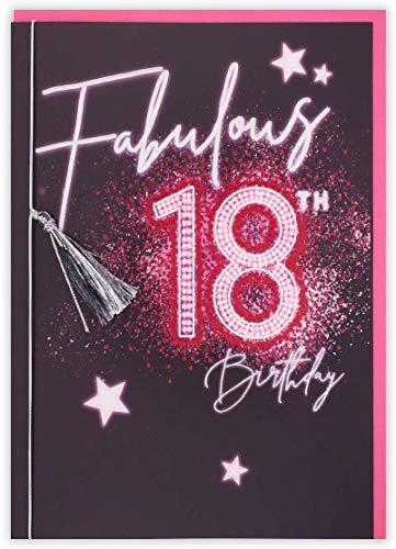 Clintons: Carte de vœux pour 18e pose, inscription néon 18e anniversaire, 11 x 15 cm