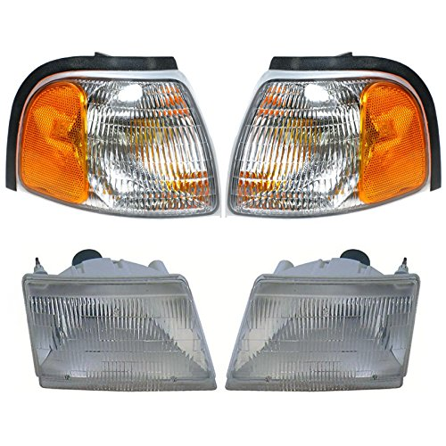 Headlight Parking Light Lamp LH RH 4 Piece Kit Silver for Mazda Pickup Truck