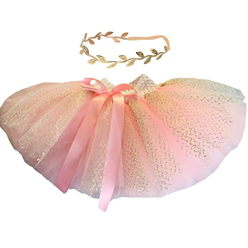 BBVESTIDO Baby Girls Pink Tutu Skirt With Gold Tulle and Headdress For 1st Party (New PG)