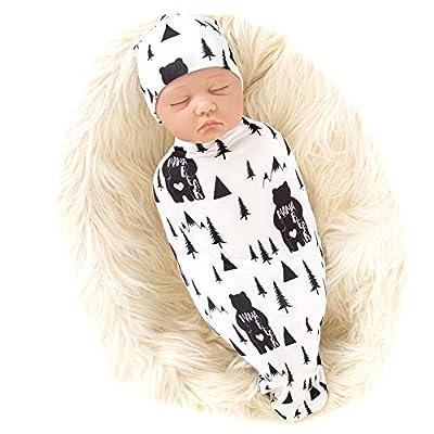 Galabloomer Newborn Swaddle Blanket with Beanie Set Baby Boy Receiving Blanket