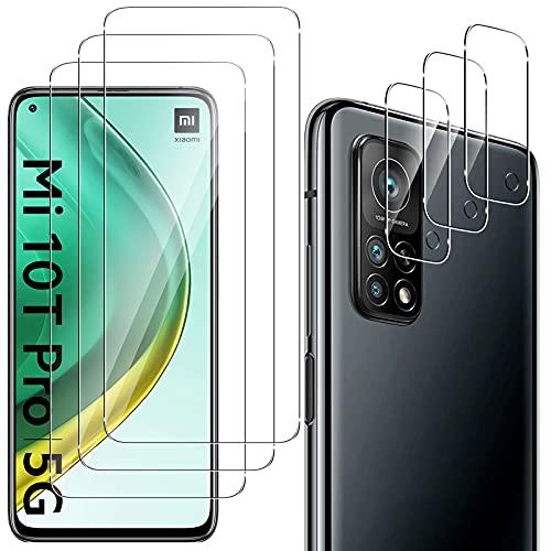 QULLOO Panzerglas Schutzfolie Kompatibel mit Xiaomi Mi 10T 5G / 10T Pro 5G [3 Stück] + Kamera Panzerglas [3 Stück], 9H Festigkeit Anti-Kratzen Panzerglasfolie für Xiaomi Mi 10T 5G / 10T Pro 5G