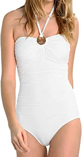 One Piece Swimsuit Bandeau Ruched Gold Logo Ring Swimwear White 12