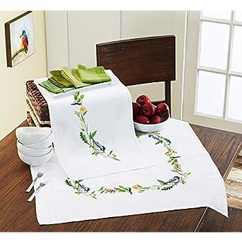 Kamaca Blumen Feuerwerk Violeta y Rosa dise/ño de Flores Color Amarillo algod/ón, Mantel de 80 x 80 cm Kit de Punto de Cruz para Mantel