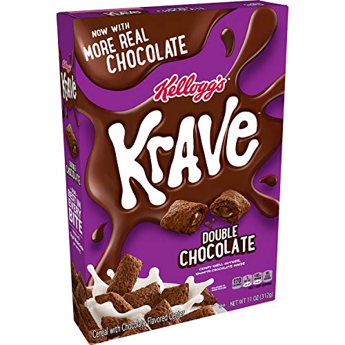 Kellogg#039s Krave Breakfast Cereal Double Chocolate Filling Made with Real Chocolate 11oz BoxPack of 10