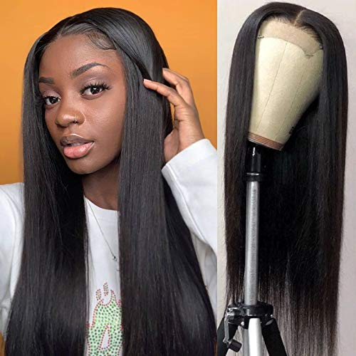 BLY Lace Front Wigs Human Hair 4x4 Closure Wigs 22 Inch Straight 10A Brazilian Virgin Hair Natural Black Color 150% Density with Baby Hair Pre Plucked Bleached Knots For Black Woman
