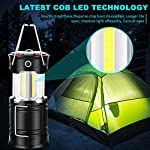Ezorkas 2 pack camping lanterns, rechargeable led lanterns, hurricane lights with flashlight and magnet base for camping… 8 super bright & large area brightness. The latest cob bulbs offer ultra-bright lights. 360 degree coverage lighting provide high visibility to meet large area brightness. 4 lighting modes. Collapsible cob led lantern. Flashlight. Red warning light(strobe & sos light). Ezorkas led camping lantern is a vital filed survival tool and camping accessories. Rechargeable & long-lasting. It is a rechargeable camping lantern and also powered by battery. There is a built-in 18650 battery , so you can recharge the lantern via usb charging cable. You can also place 3*aa batteries (not included) to use it. By using these two ways of battery supplying, never let you be left in a sudden darkness. Durable & water-resistant. Compact lamp body prevents it being damaged from collision. The rechargeable lantern is water-resistant due to its abs military material and cob bulb. The camping lamp can adapt to all kinds of severe hurricane and rainstorm weather. Perfect camping light for your indoor or outdoor activities.