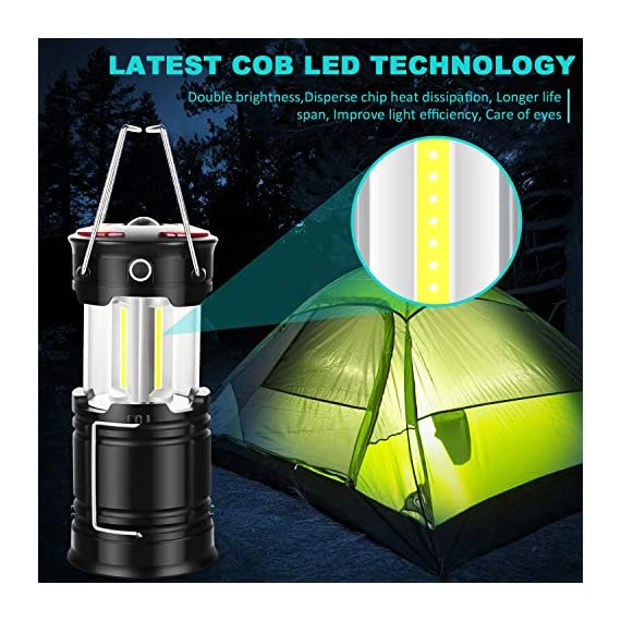 Ezorkas 2 pack camping lanterns, rechargeable led lanterns, hurricane lights with flashlight and magnet base for camping… 2 super bright & large area brightness. The latest cob bulbs offer ultra-bright lights. 360 degree coverage lighting provide high visibility to meet large area brightness. 4 lighting modes. Collapsible cob led lantern. Flashlight. Red warning light(strobe & sos light). Ezorkas led camping lantern is a vital filed survival tool and camping accessories. Rechargeable & long-lasting. It is a rechargeable camping lantern and also powered by battery. There is a built-in 18650 battery , so you can recharge the lantern via usb charging cable. You can also place 3*aa batteries (not included) to use it. By using these two ways of battery supplying, never let you be left in a sudden darkness. Durable & water-resistant. Compact lamp body prevents it being damaged from collision. The rechargeable lantern is water-resistant due to its abs military material and cob bulb. The camping lamp can adapt to all kinds of severe hurricane and rainstorm weather. Perfect camping light for your indoor or outdoor activities.