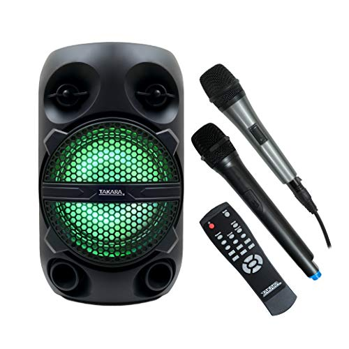 Takara Karaoke Speaker TAKARA T-8 Portable 8 Inch Speaker Multimedia Bluetooth; Karaoke with Audio Recording; USB; Rechargeable Battery PA System with Wireless Mic Outdoor Speakers