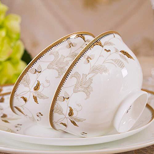 GAXQFEI Juegos de vajilla de porcelana, juegos de platos de porcelana china, cuencos/platos de cena/ollas/platillos, adornos de patrón dorado Jingdezhen para la cocina y el comedor diarios (ser
