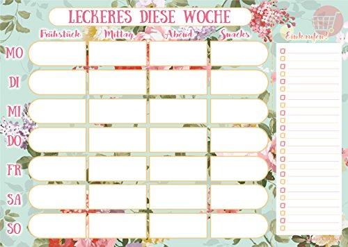 Essensplaner mit praktischer Einkaufsliste im DIN A4 Format - Mahlzeitenplaner mit 50 Blatt für die gesamte Woche - von Sophies Kartenwelt