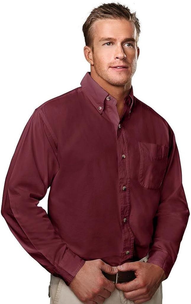 Tri-Mountain 5.5 oz 100% Cotton Twill Woven Shirt - 790 Regency Maroon