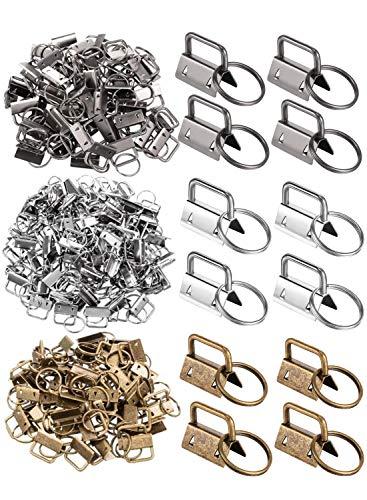 F-BBKO 60Pieces Key Fob Hardware Key Chain Fob Wristlet Hardware with Key Ring for Lanyard - 1Inch Wide(Color:Bronze, Gun Black, White Nickel)
