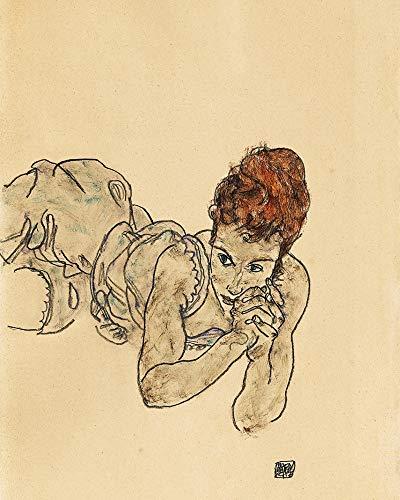 1art1 Egon Schiele - Liegende Frau, Zeichnung, 1917 Bilder Leinwand-Bild Auf Keilrahmen | XXL-Wandbild Poster Kunstdruck Als Leinwandbild 50 x 40 cm