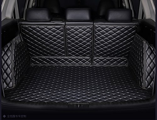FHJBP Custom Fit Trunk Cargo Liner for 2016-2020 Mazda CX-5 (Back Seats Serate into 3 Parts, Black w/Black Stitching)