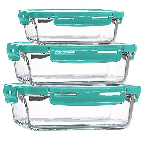 Contenedor de preparación de comida de vidrio, se puede colocar en el refrigerador en el almacenamiento de la caja de almuerzo de vidrio, caja de cristal. Altura: 19,1 cm, ancho: 20,4 cm. Verde.