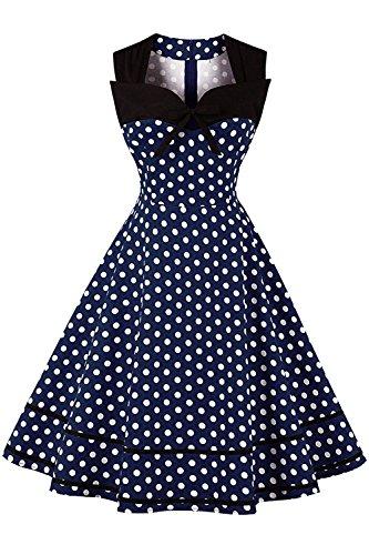 MisShow Robe Femme Printemps Eté Vintage Stretch années 20s 70s à Pois Décontractée Robe de Gala Vintage Swing en Coton Bleu Marine 2XL